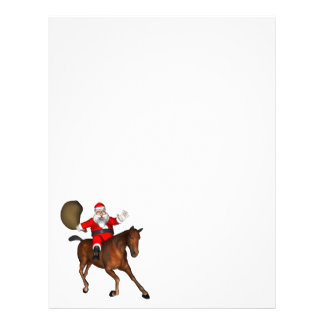 Santa Claus Riding A Brown Horse Letterhead