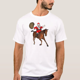 Santa Claus Riding A Brown Horse T-Shirt