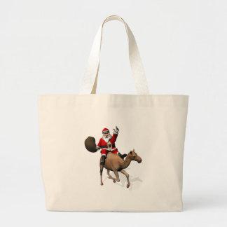 Santa Claus Riding A Camel Canvas Bags