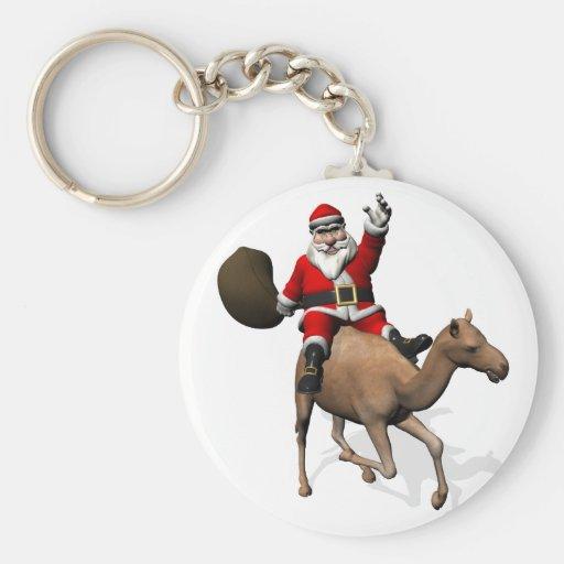 Santa Claus Riding A Camel Keychain
