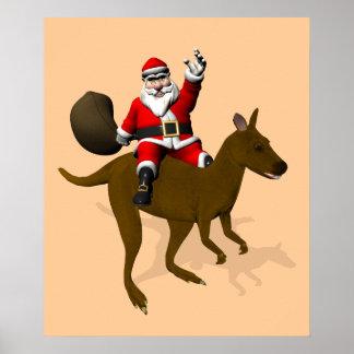 Santa Claus Riding A Cangaroo Poster