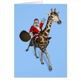 Santa Claus Riding A Giraffe Greeting Card