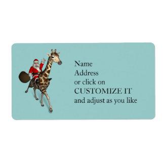 Santa Claus Riding A Giraffe Label