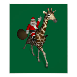 Santa Claus Riding A Giraffe Poster