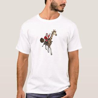 Santa Claus Riding A Giraffe T-Shirt