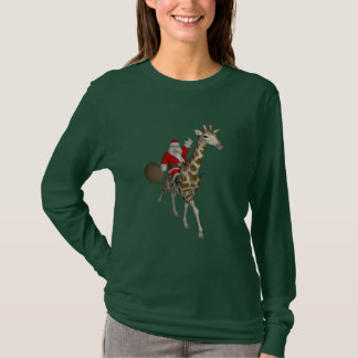 Santa Claus Riding A Giraffe T-Shirt
