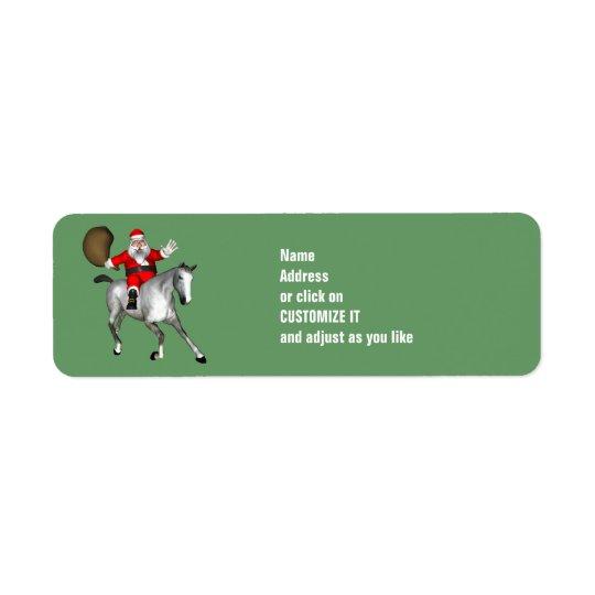 Santa Claus Riding A Gray Horse Label
