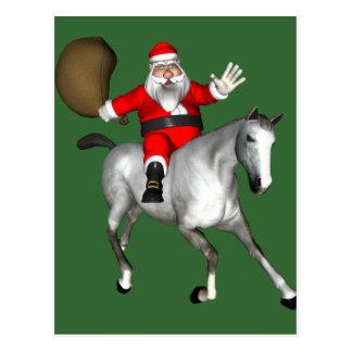 Santa Claus Riding A Gray Horse Postcard
