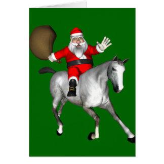 Santa Claus Riding A Grey Horse Card