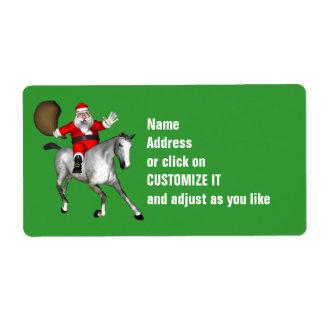 Santa Claus Riding A Grey Horse Label