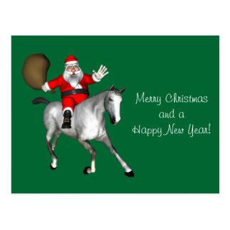 Santa Claus Riding A Grey Horse Postcard