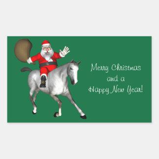 Santa Claus Riding A Grey Horse Rectangular Sticker