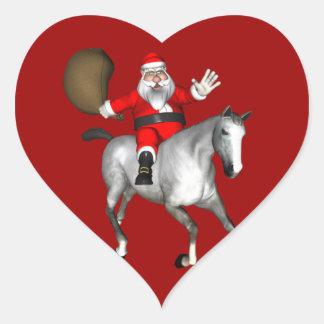 Santa Claus Riding A Grey Horse Heart Sticker