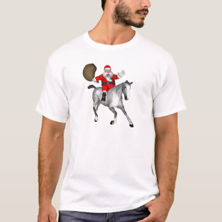 Santa Claus Riding A Grey Horse T-Shirt