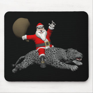 Santa Claus Riding A Grey Panther Mouse Pad