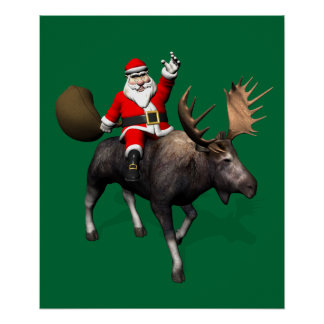 Santa Claus Riding A Moose Poster