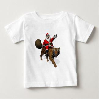 Santa Claus Riding A Tiger Baby T-Shirt
