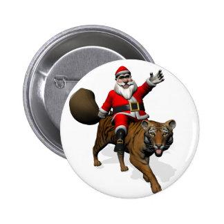 Santa Claus Riding A Tiger Button