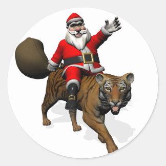 Santa Claus Riding A Tiger Classic Round Sticker
