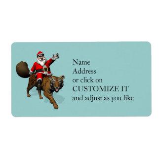 Santa Claus Riding A Tiger Label