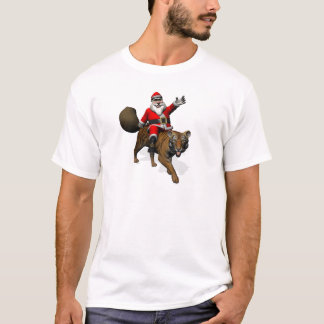 Santa Claus Riding A Tiger T-Shirt