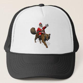 Santa Claus Riding A Tiger Trucker Hat