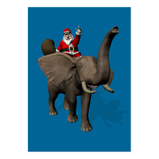 Santa Claus Riding An Elephant Large Business Cards (Pack Of 100)