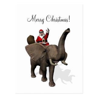 Santa Claus Riding An Elephant Postcard