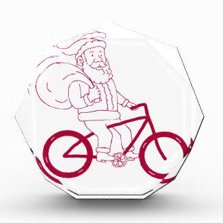 Santa Claus Riding Bicycle Side Cartoon Acrylic Award