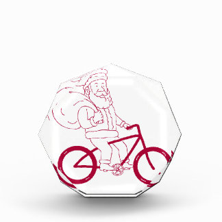 Santa Claus Riding Bicycle Side Cartoon Award