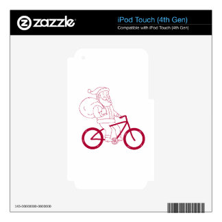 Santa Claus Riding Bicycle Side Cartoon iPod Touch 4G Skin