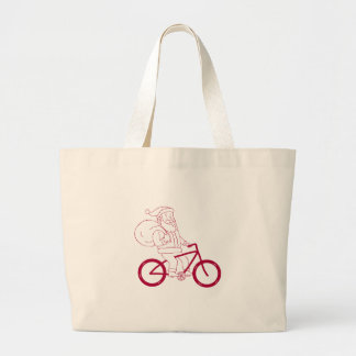 Santa Claus Riding Bicycle Side Cartoon Large Tote Bag
