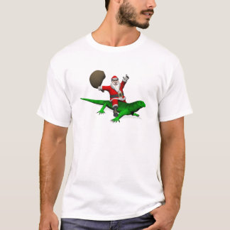 Santa Claus Riding Green Lizard T-Shirt