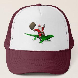 Santa Claus Riding Green Lizard Trucker Hat