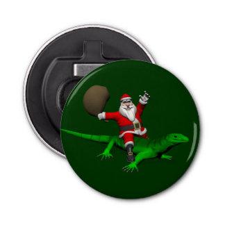 Santa Claus Riding Green Lizard Button Bottle Opener