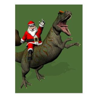 Santa Claus Riding On Allosaurus Postcard