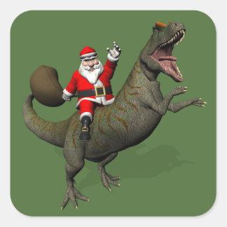 Santa Claus Riding On Allosaurus Square Sticker