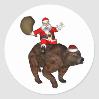 Santa Claus Riding On Bear Classic Round Sticker