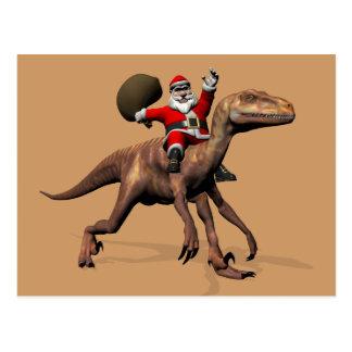 Santa Claus Riding On Deinonychus Post Card
