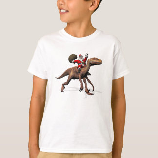 Santa Claus Riding On Deinonychus T-Shirt