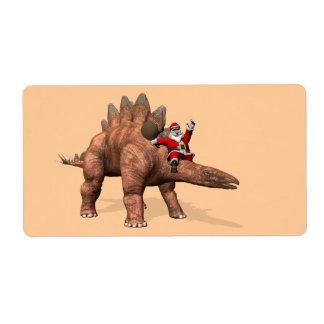 Santa Claus Riding On Dinosaur Label