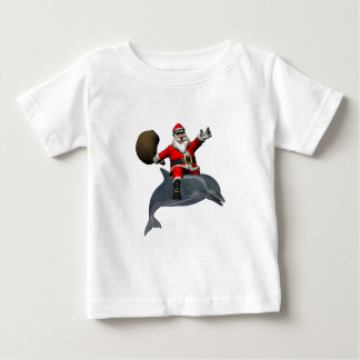 Santa Claus Riding On Dolphin Baby T-Shirt
