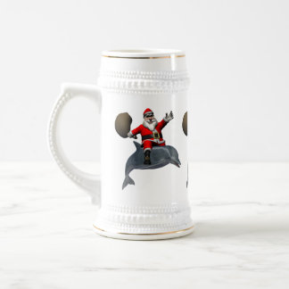 Santa Claus Riding On Dolphin Beer Stein
