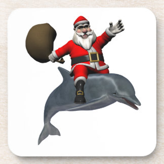 Santa Claus Riding On Dolphin Beverage Coaster