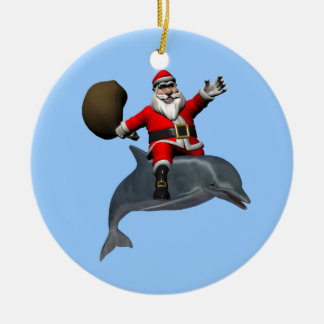 Santa Claus Riding On Dolphin Ceramic Ornament