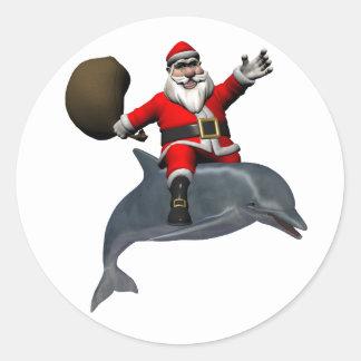Santa Claus Riding On Dolphin Classic Round Sticker