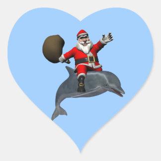 Santa Claus Riding On Dolphin Heart Sticker