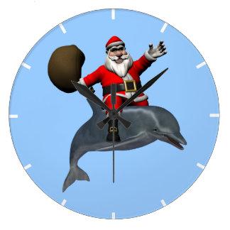 Santa Claus Riding On Dolphin Large Clock