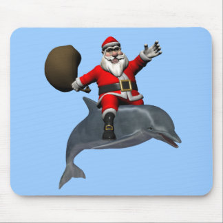 Santa Claus Riding On Dolphin Mouse Pad
