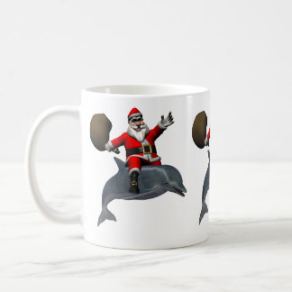 Santa Claus Riding On Dolphin Mug